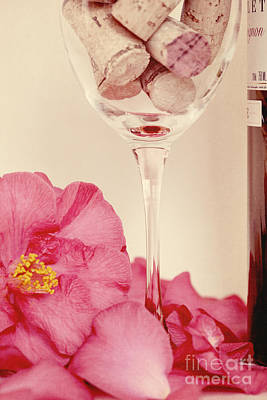 Wine With Camellia Print by Kim Fearheiley