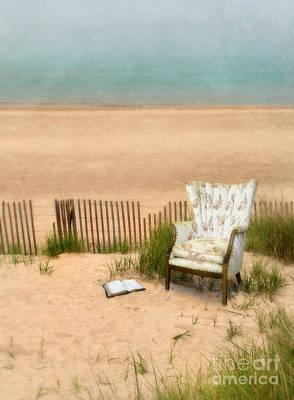 Wingback Chair At The Beach Print by Jill Battaglia