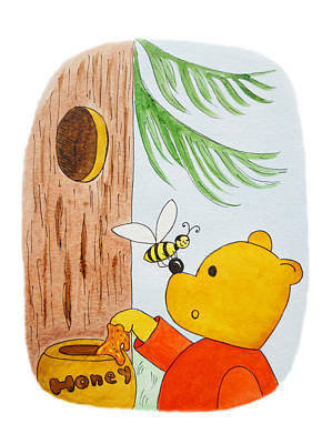 Fairy Tale Art Painting - Winnie The Pooh And His Lunch by Irina Sztukowski