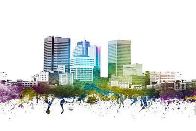 Canada Drawing - Winnipeg Cityscape 01 by Aged Pixel