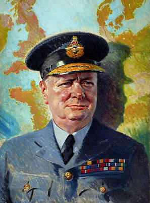 Wwii Painting - Winston Churchill In Uniform by War Is Hell Store