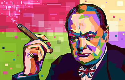 Statesmen Digital Art - Winston Churchill by Mal Bray