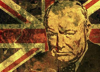 Statesmen Mixed Media - Winston Churchill-uk 2 by Otis Porritt