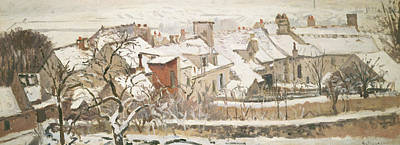 Snow Scene Landscape Painting - Winter, 1872  by Camille Pissarro