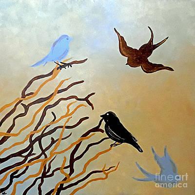 Black Bird.flying Art Painting - Winter Approaching by Jilian Cramb - AMothersFineArt
