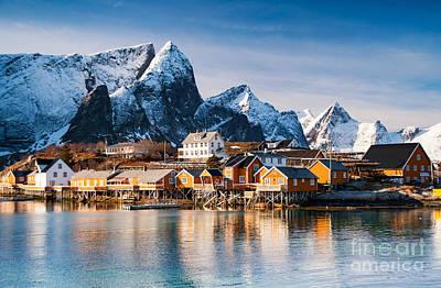 Winter At Sakrisoy Village On The Lofoten Islands Print by Janet Burdon