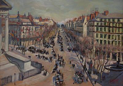 France La Madeleine Painting - Winter At The Boulevard De La Madeleine, Paris by Nop Briex
