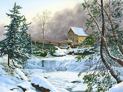 Winter At The Mill Glade Creek Grist Mill West Virginia Original by Richard Devine