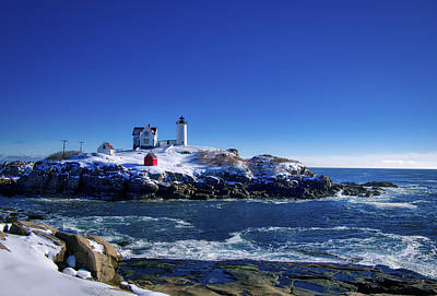 Winter At The Nubble Lighthouse - York - Maine II Print by Steven Ralser