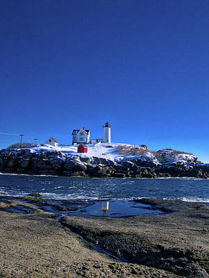Sunrise Photograph - Winter At The Nubble Lighthouse - York - Maine IIi by Steven Ralser