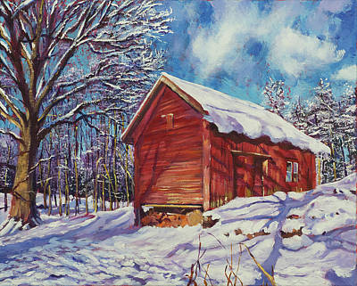 Winter At The Old Barn Print by David Lloyd Glover