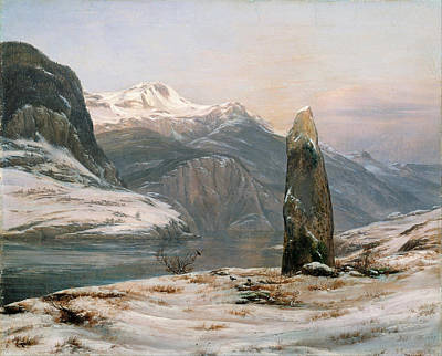 Johan Christian Dahl Painting - Winter At The Sognefjord by Johan Christian Dahl