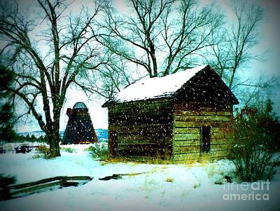 Winter Barn And Silo Print by Carol Groenen