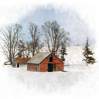 Snowstorm Mixed Media - Winter Barn by Vicki McLead