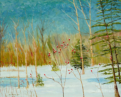 Winterscape Painting - Winter Berries by Cindy Roesinger