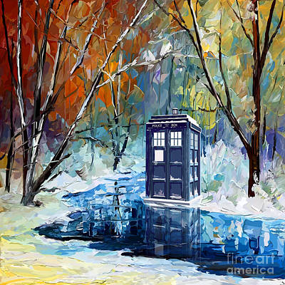 Doctor Who Drawing - Winter Blue Phone Box by three Second