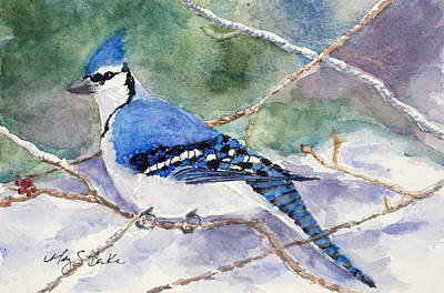 Fauna Painting - Winter Blues by Mary Benke