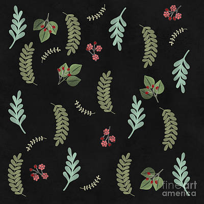 Winter Botanical Leaves, Berries, Nature Print by Tina Lavoie