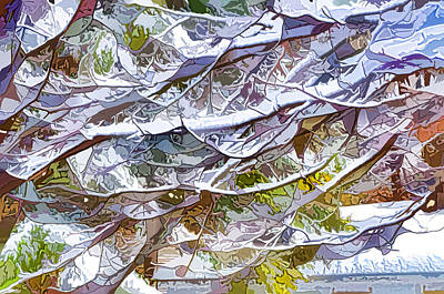 Background Painting - Winter Branches Of Trees In Snow by Lanjee Chee