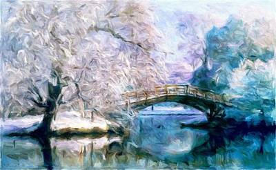 Abstract Oil Painting - Winter Bridge - Impressionist Landscape Painting by Katrina Britt