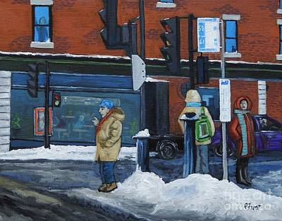 Montreal Winter Scenes Painting - Winter Bus Stop by Reb Frost