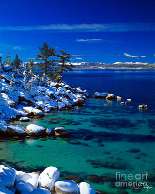 Winter Calm Lake Tahoe Print by Vance Fox