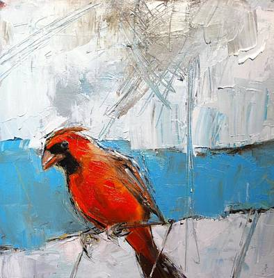 Winter Cardinal Print by Claire Kayser