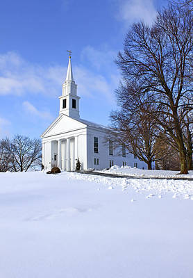 Winter Church Print by Evelina Kremsdorf