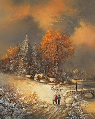 Snow Scene Painting - Winter Classic by Tom Shropshire