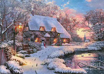 Winter Cottage Print by Dominic Daviosn