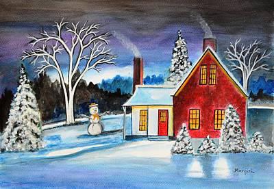 Snowscape Painting - Winter Cottage by Manjiri Kanvinde