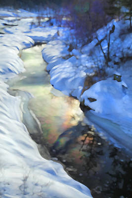 Snow Drifts Photograph - Winter Creek by Theresa Tahara