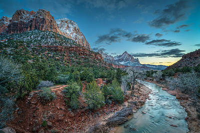 Southern Utah Photograph - Winter Dusk At Zion National Park by James Udall