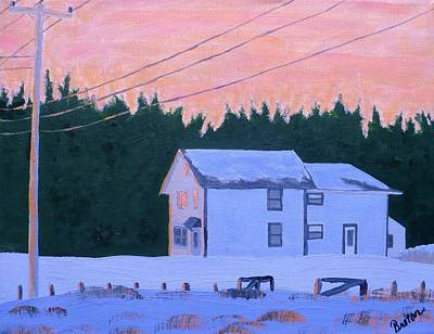 Maine Winter Painting - Winter Dusk by Laurie Breton