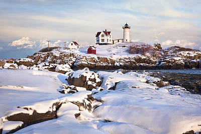 Winter Evening At Nubble Lighthouse Print by Eric Gendron
