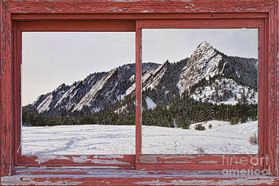 Picture Window Frame Photos Art Photograph - Winter Flatirons Boulder Colorado Red Barn Picture Window Frame  by James BO  Insogna