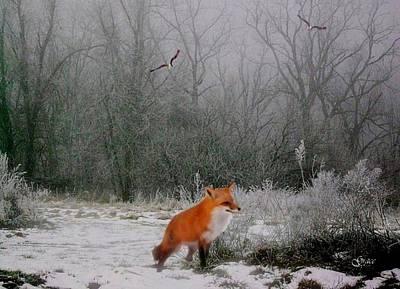 Winter Fox Print by Julie  Grace