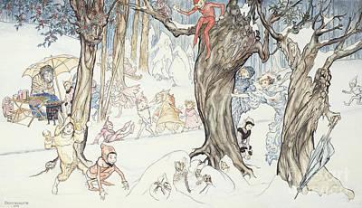 Elf Drawing - Winter Frolic by Arthur Rackham