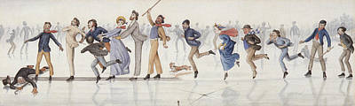 Skating Drawing - Winter Fun by Charles Altamont Doyle