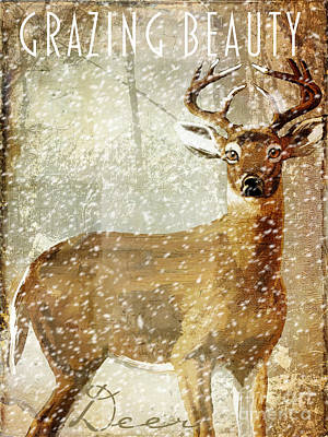 Winter Game Deer Print by Mindy Sommers