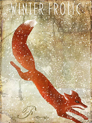 Winter Game Fox Print by Mindy Sommers