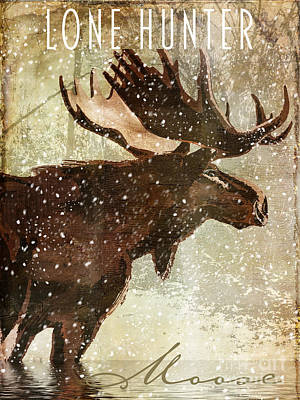 Winter Game Moose Print by Mindy Sommers