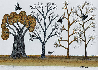 Blackbird Drawing - Blackbirds In The Winter Grove by Graciela Bello