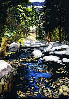 Scratchboard Painting - Winter Hike by Mattie O
