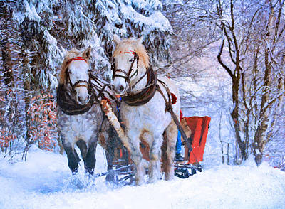 Snowscape Mixed Media - Winter Horses by Georgiana Romanovna