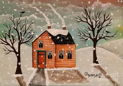 Blackbird Painting - Winter House by Karla Gerard