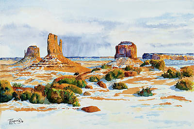 Sage Brush Painting - Winter In The Valley by Timithy L Gordon
