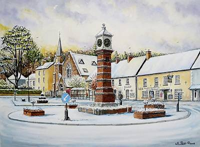 Christmas Greeting Painting - Winter In Twyn Square by Andrew Read