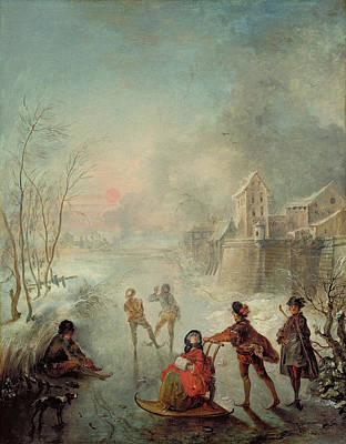 Winter Scenes Painting - Winter by Jacques de Lajoue