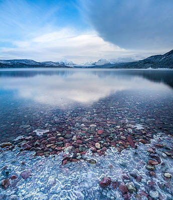 Winter Lake Rocks // Lake Mcdonald, Glacier National Park  Print by Nicholas Parker